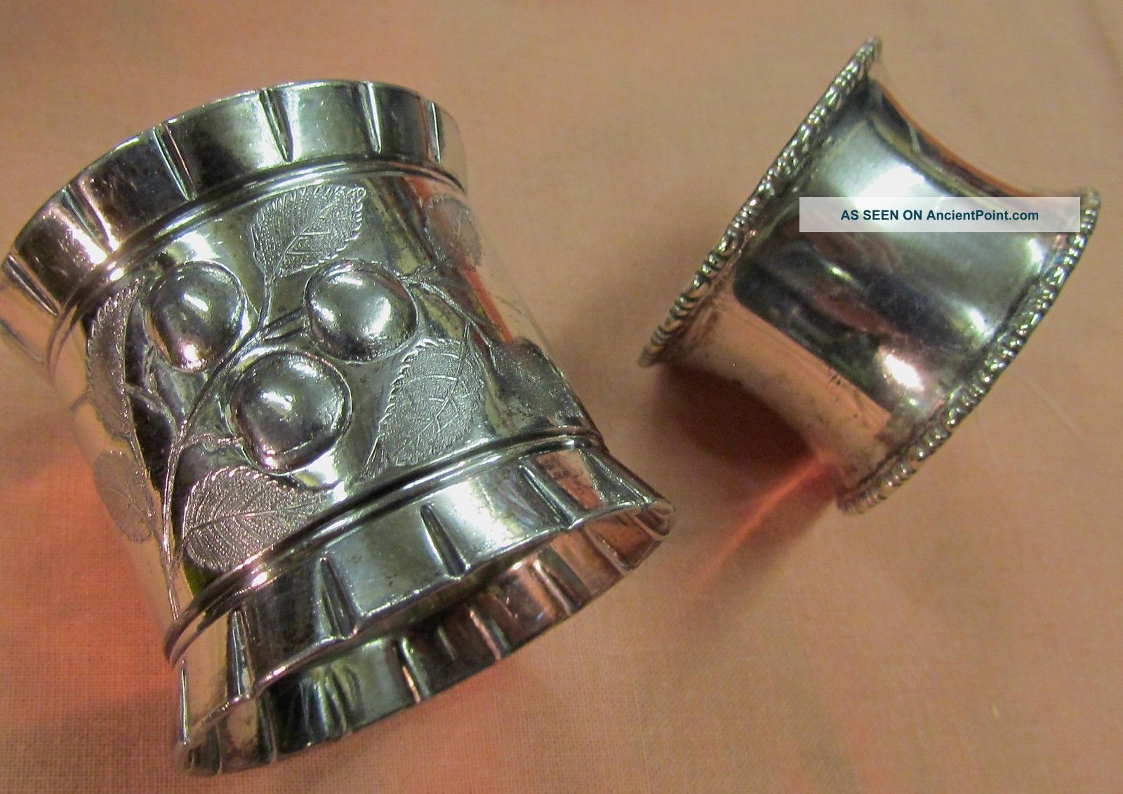 2 Different Unmarked Silver Plated Napkin Ring 1 Heavy Embossed & 1 Beaded Edge Napkin Rings & Clips photo