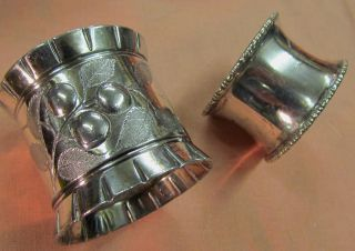 2 Different Unmarked Silver Plated Napkin Ring 1 Heavy Embossed & 1 Beaded Edge photo