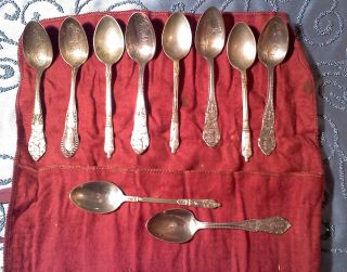 (10) Silver Plate Spoons,  Battleship Souvenir Spoons,  Heinz Co. ,  And Others photo