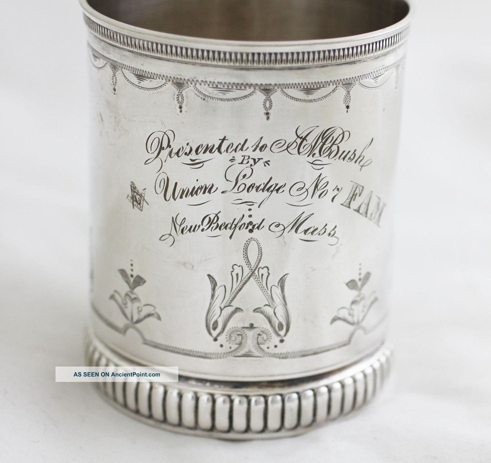 Early Gorham Sterling Mug Freemason Masonic Union Lodge No.  7 5.  1oz Cups & Goblets photo