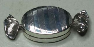 Unique Sterling Silver (. 925) Wrapped Candy Trivia Pill Box 2 1/4