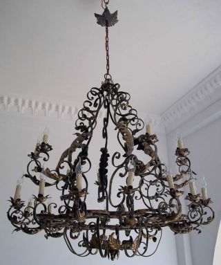 Palace Huge Wrought Iron Rustic Chandelier 32 Lights photo