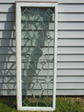 Large Antique Clear Cut Beveled W/jewel Leaded Glass Window photo