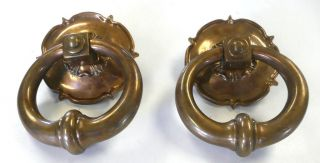 Antique Bronze Pair Of Very Heavy Door Knockers photo