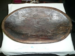 Vintage Wooden Dough Bowl - - One Copper Repair - 24 Inch X 14 Inch X 4.  5 Inches photo