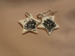 Scrimshaw Bone Earrings Side Ship photo
