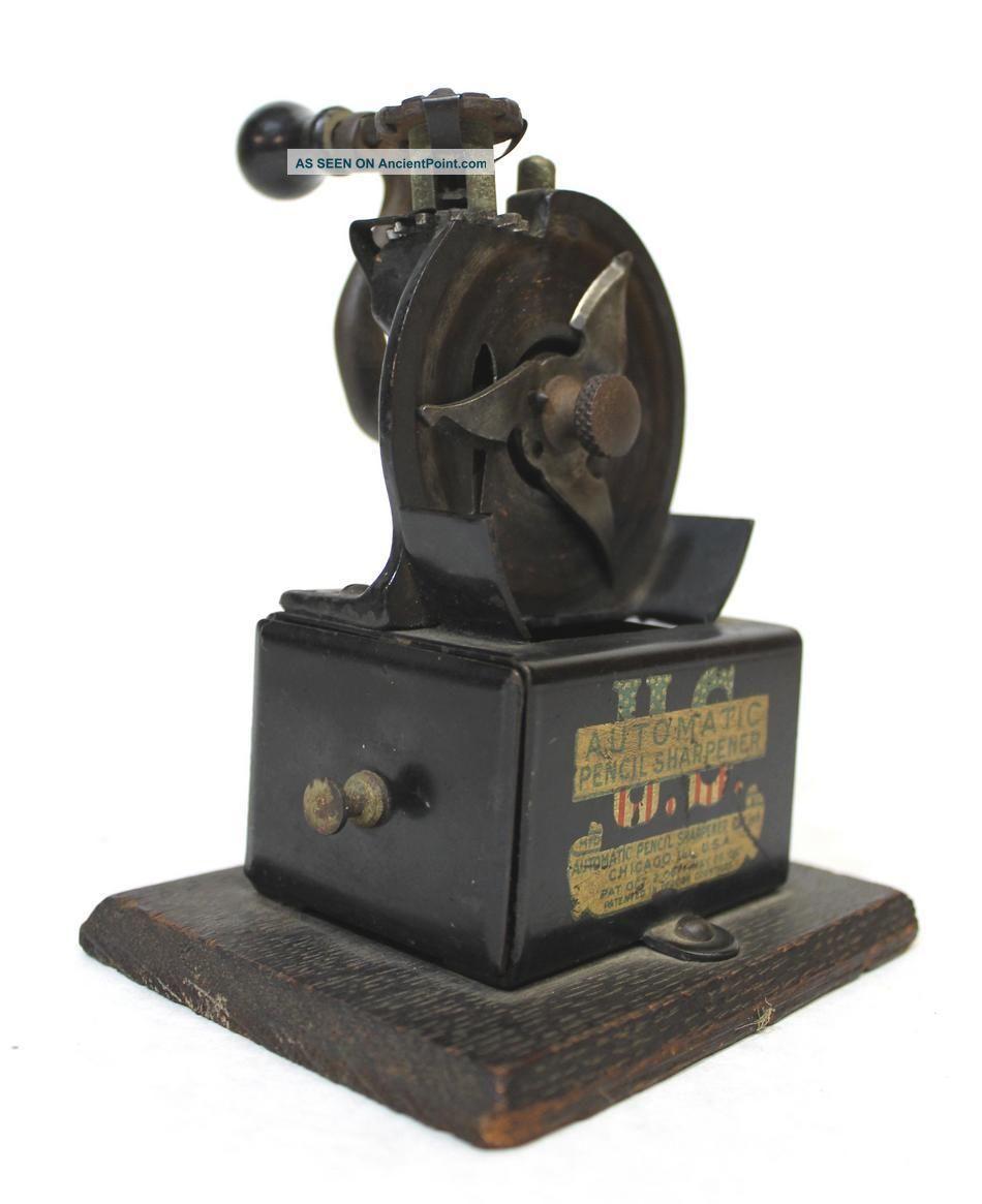 Antique 1908 Desktop Automatic Us Pencil Sharpener Perfect Other photo