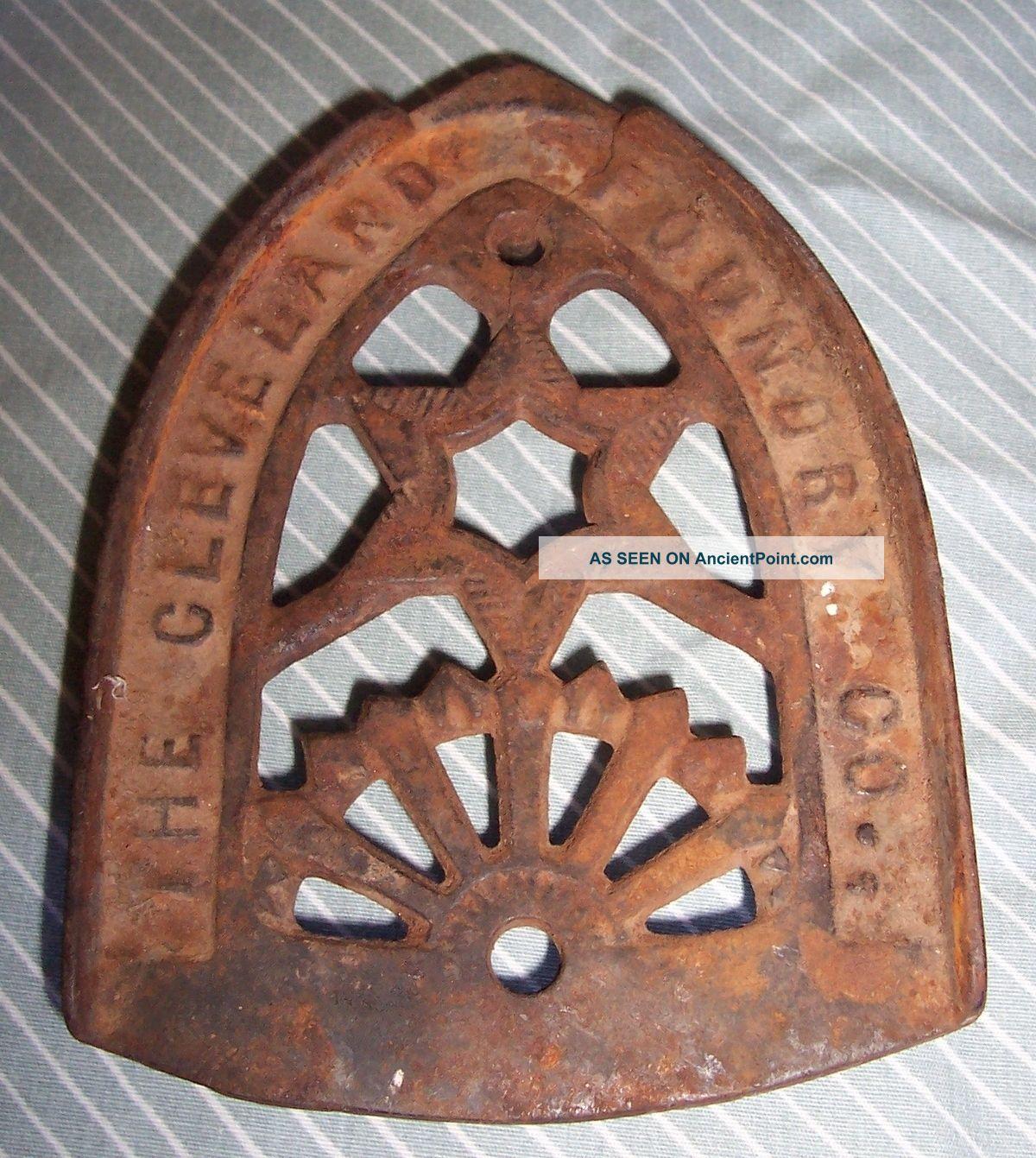Cleveland Foundry - Vintage / Antique Cast Iron Flat Iron Trivet - No Restoration Trivets photo