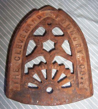 Cleveland Foundry - Vintage / Antique Cast Iron Flat Iron Trivet - No Restoration photo