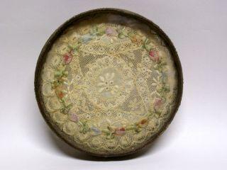 Victorian Edwardian Lace Dollie Glass Trivet photo