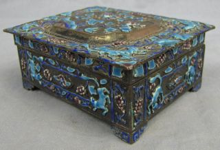 C.  1900 Chinese Export Silver Plate & Raised Enamel Decor Box Foxes photo