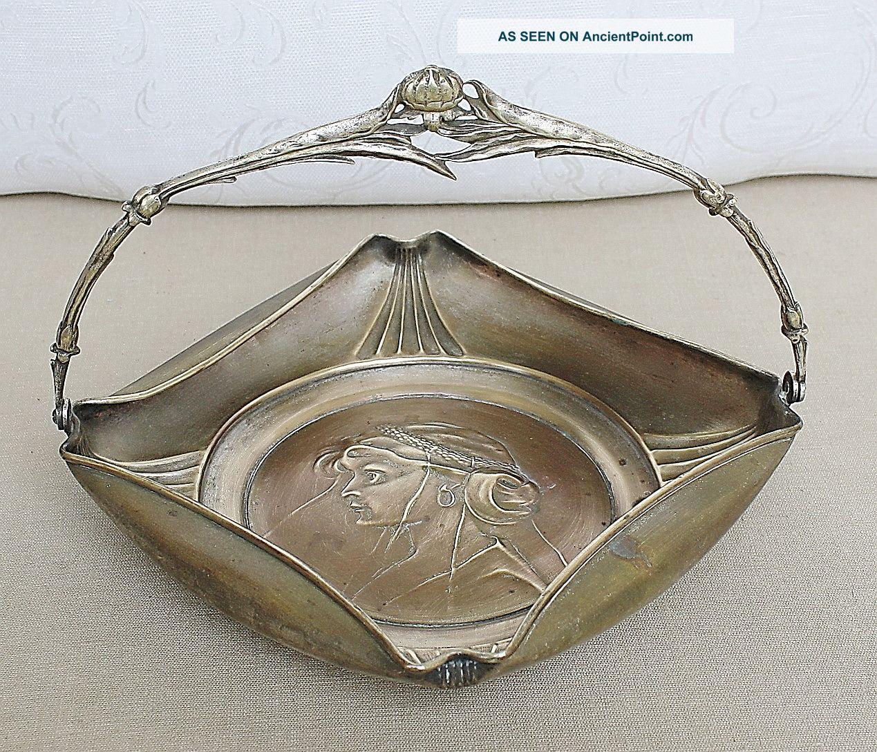 Art Nouveau Austria Argentor Silver Plated Basket Bowl Papaver Handle End 19th C Baskets photo