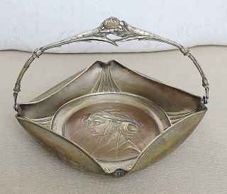 Art Nouveau Austria Argentor Silver Plated Basket Bowl Papaver Handle End 19th C photo