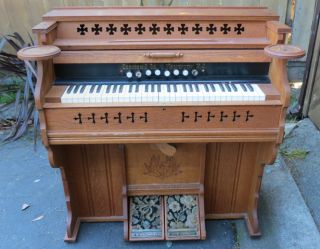 Magnificent Antique Cornish & Co.  (washington,  Nj) Oak Pump Organ From 1880s photo