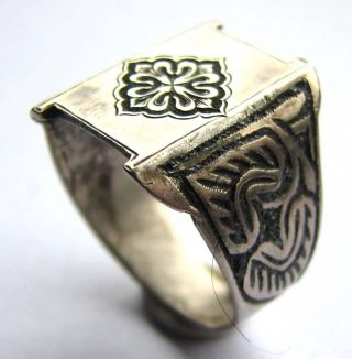 Fine Late Medieval Silver Neillo Ring - Floral Cross Bezel Plate - 17th Century photo