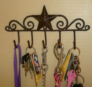 Handy Primitive Country Classic Barn Star Rustic Brown Key Holder Hanger 5 Hook photo