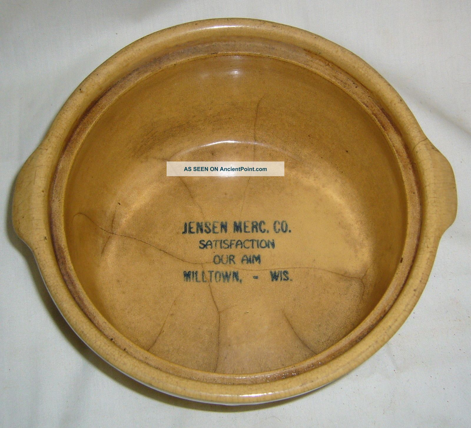 Antique Red Wing Saffron Ware Milltown Wisc.  Mercantile Advertising Baker Bowl Other photo
