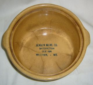 Antique Red Wing Saffron Ware Milltown Wisc.  Mercantile Advertising Baker Bowl photo