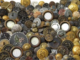 150 Antique Vintage Metal Buttons Victorian Cut Steel Old Steels Brass Picture photo