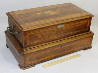 Antique Marquetry Inlay Rosewood 4 - Cylinder Victorian Music Box Paillard Quality photo