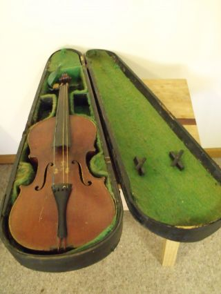 Antique 3/4 Violin,  No Bow,  Case, ,  Needs Strings.  C 1880 - 1910,  Maidstone photo