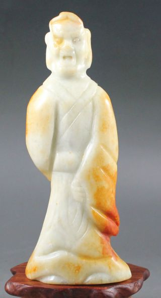 Ancient Chinese Hetian White Jade Hand - Carved Jade Statue Buddha 4.  1 Inch photo
