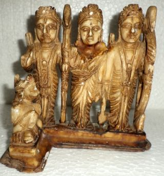 1860 ' Svery Old Rare Marble Hindu God Ram Darbar Hanuman Murti India Art photo