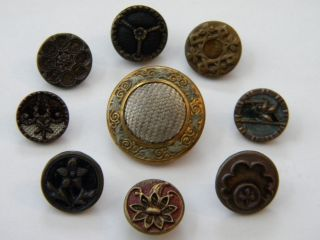 9 Antique Vintage Metal Buttons Victorian Old Brass Perfume Tinted Fabric photo