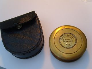 Vintage Style Brass Pocket Compass With Case photo