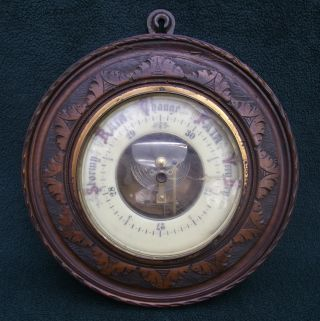 An Antique Carved Oak Aneroid Barometer,  19thc,  For Restoration photo