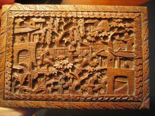 Small Box Richly Carved Sandalwood.  Canton.  China.  19th. photo