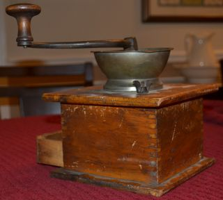 Antique Coffee Grinder With Pewter Top,  Collectable Look photo