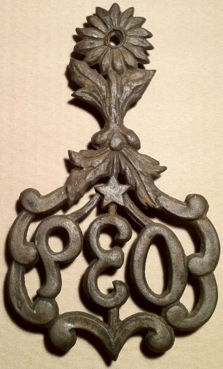 Rare Antique Cast Iron P.  E.  O.  Trivet W/ Historical Significance photo