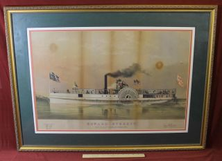 Antique 1865 Large Folio Jh Bufford Chromolithograph Steamship Edward Everett photo