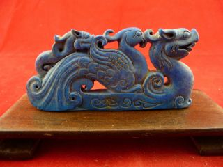 Chinese Classical Hand Carved Dragon And Phoenix Stone Statue 633 photo
