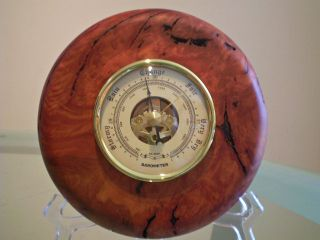 Australian Red Gum Burl Wood Turned Wall Barometer photo