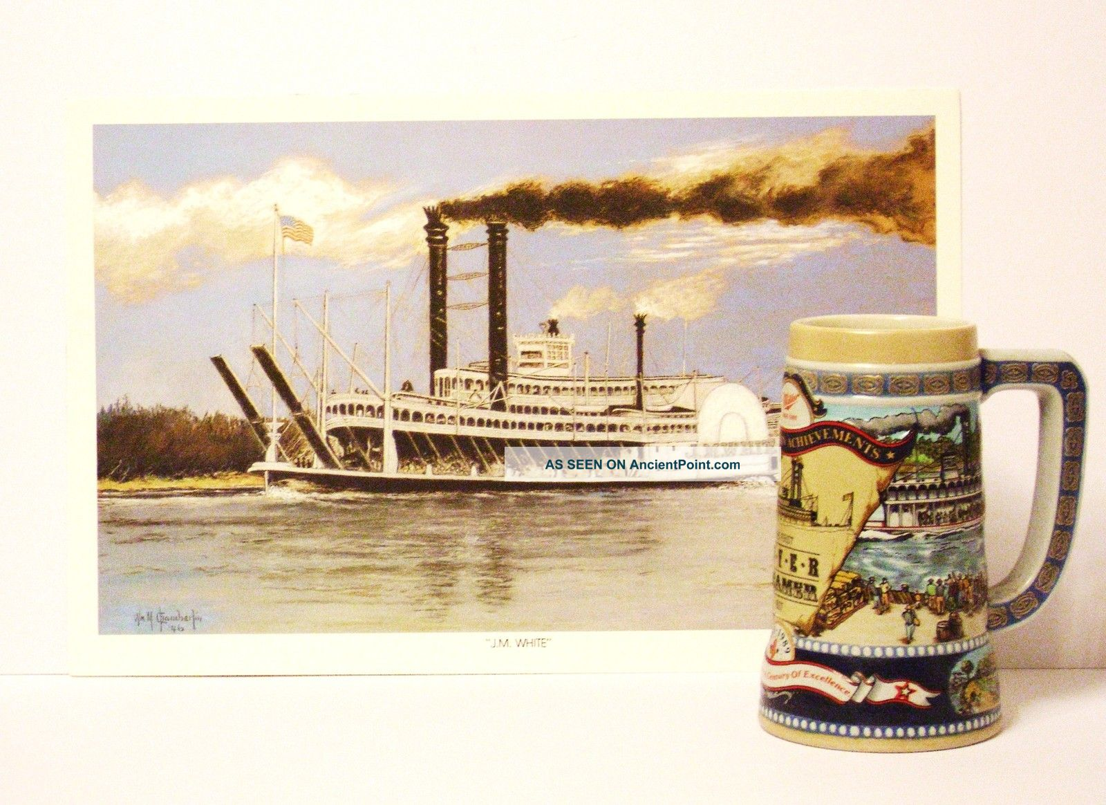Commemorative Steam Ship Paddle Wheel Print/beer Stein Other photo
