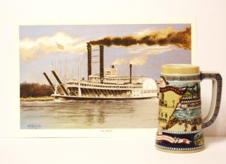 Commemorative Steam Ship Paddle Wheel Print/beer Stein photo