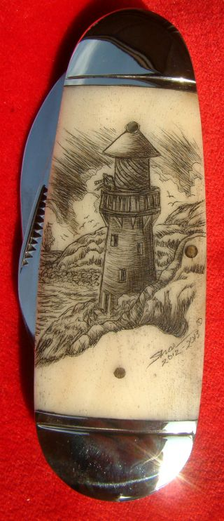 Scrimshaw Art,  Tall Ship,  Lighthouse,  Ele Toe Nail 2 Blade Folding Knife/knives photo