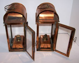 Pair Nautical Decor,  Copper Ship ' S Cargo Oil Lamp Or Lantern Is For Two photo