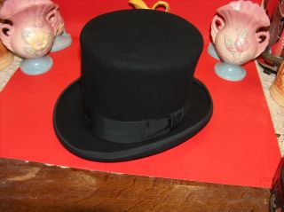 Vtg New York Hat Co.  Mad Hatter Wool Felt Formal Top Hat Magician A Party Hat photo