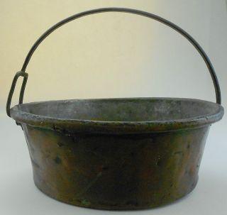 Antique Or Vintage Apple Butter Copper Kettle Cauldron W Iron Handle Nr photo