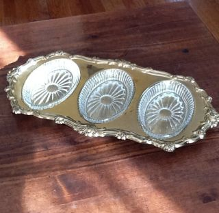 Antique Gold Plated Bronze Serving Tray With Removable Glass Inserts photo