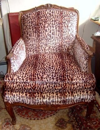 Antique Louis Xv Style Bergere Chair Reupholstered Faux Leopard Fabric photo