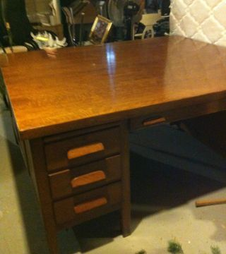 Oak Partner Desk - Arts And Crafts Mission Oak photo