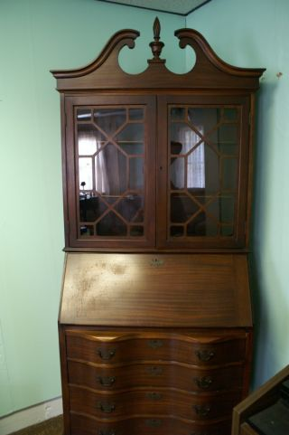 Antique Mahogany Secretary Bookcase With Drop Down Desk Claw And Ball Feet photo