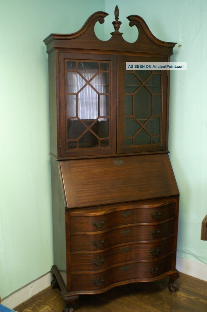 Antique mahogany secretary bookcase with drop down desk claw and ball