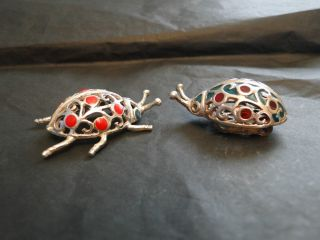 Miniature Set 2 Lady Birds 800 Silver And Enamel Marked Made Circa 1960 - Italy photo
