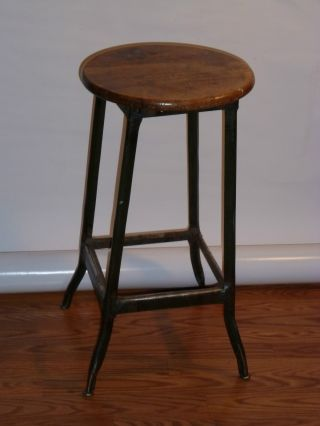 Vintage Industrial Stool Solid Wood Seat 26