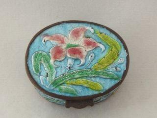 Antique Chinese Enamel Cloisonne & Brass Pill / Patch Box Aqua Flower Nr China photo